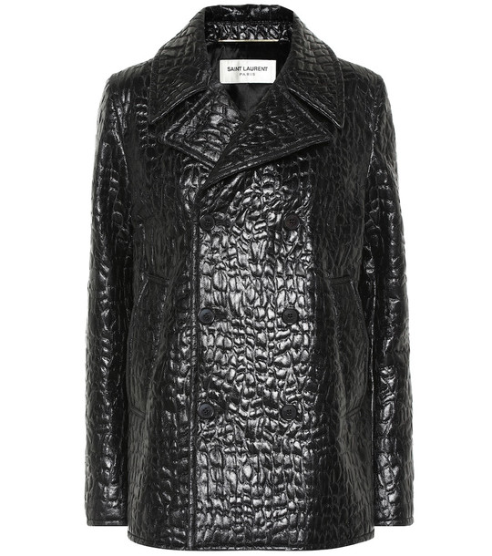 Saint Laurent Croc-effect faux leather pea coat in black