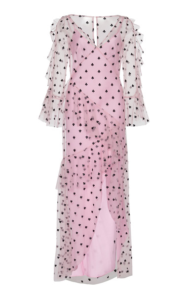 Temperley London Fortuna Ruffled Tulle Dress in pink