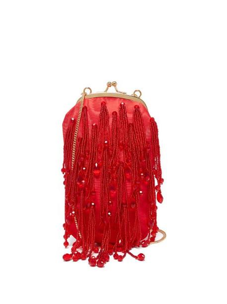 Erdem - Crystal Bead Tassel Silk Bag - Womens - Red