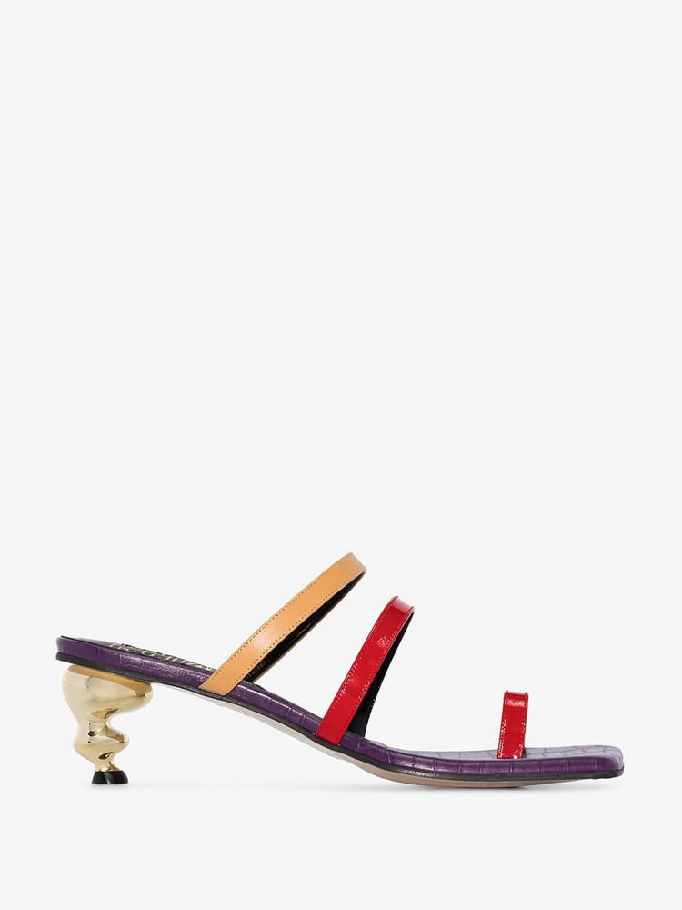 House of Holland multicoloured Sunrise 60 leather sandals in purple