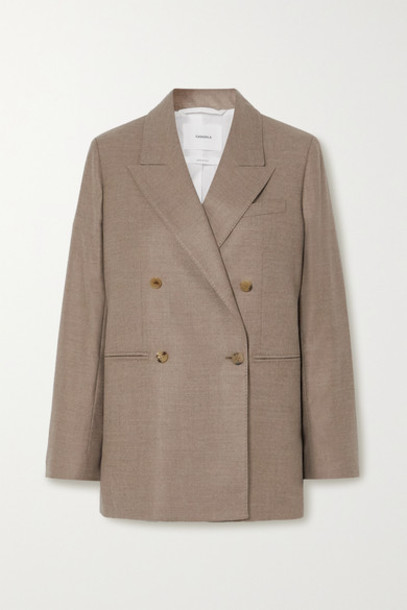 CASASOLA - Carioca Double-breasted Wool And Silk-blend Blazer - Beige