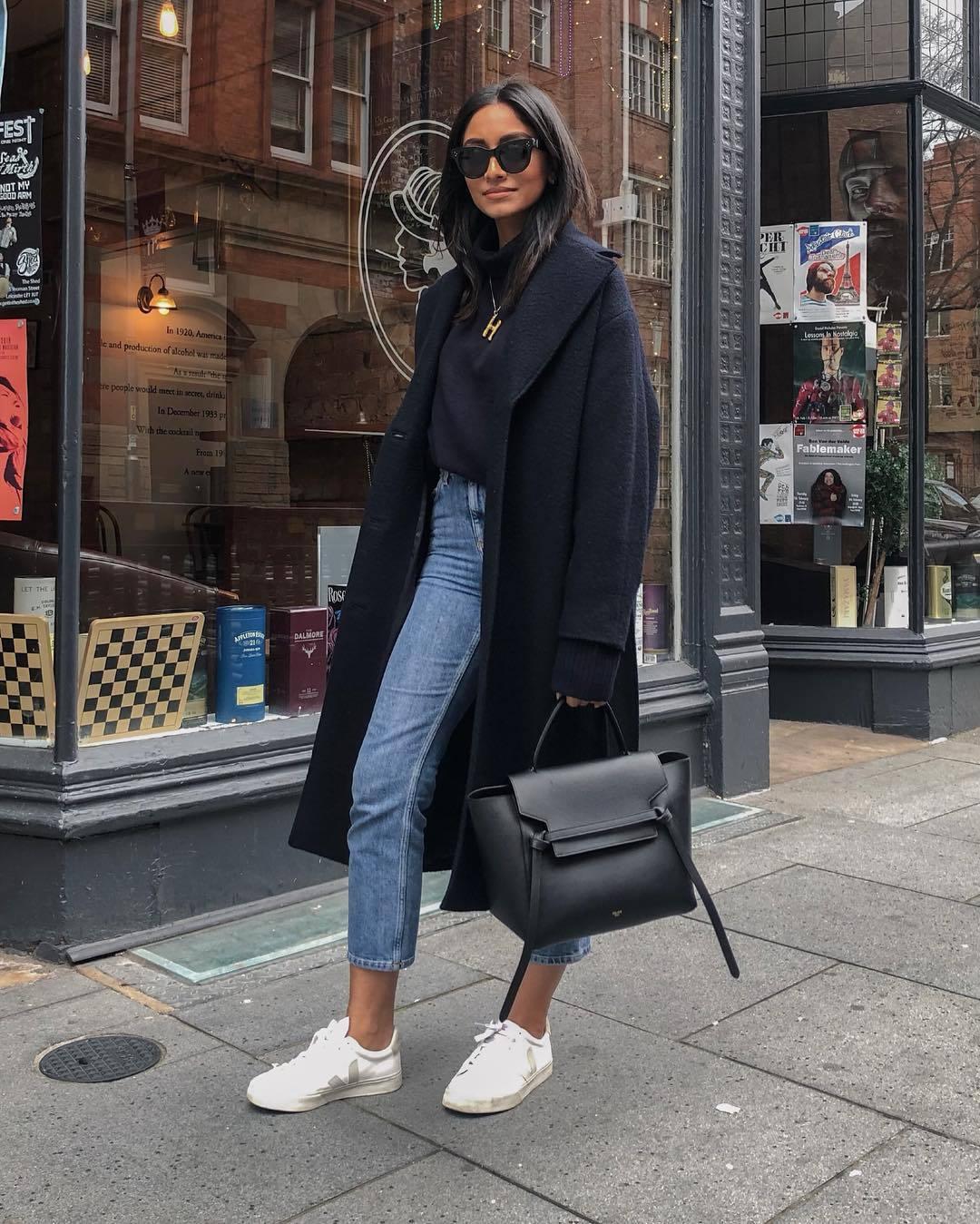 coat black coat long coat wool coat white sneakers black bag high waisted jeans turtleneck sweater black sweater jeans