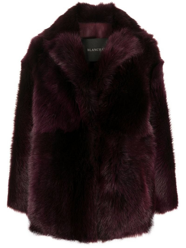 Blancha oversized shearling coat in red