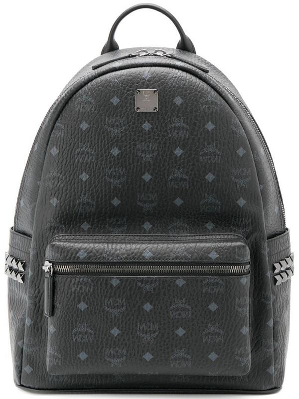MCM logo print backpack in black