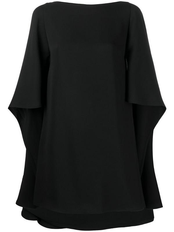 Valentino draped cape-style mini dress in black