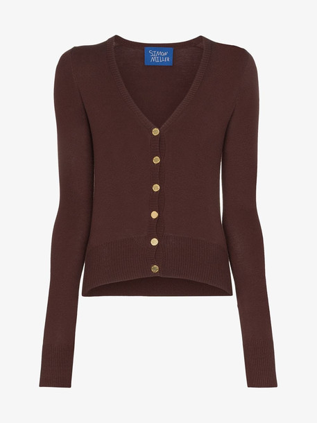 Simon Miller button down fitted cardigan in brown