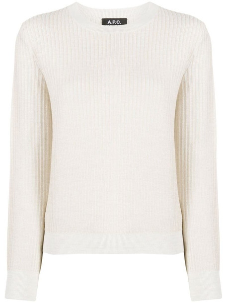 A.P.C. knitted long sleeve jumper in white