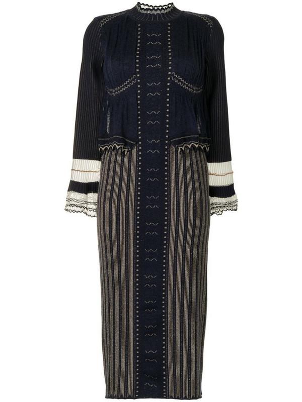 Mame Kurogouchi layered knitted dress in blue