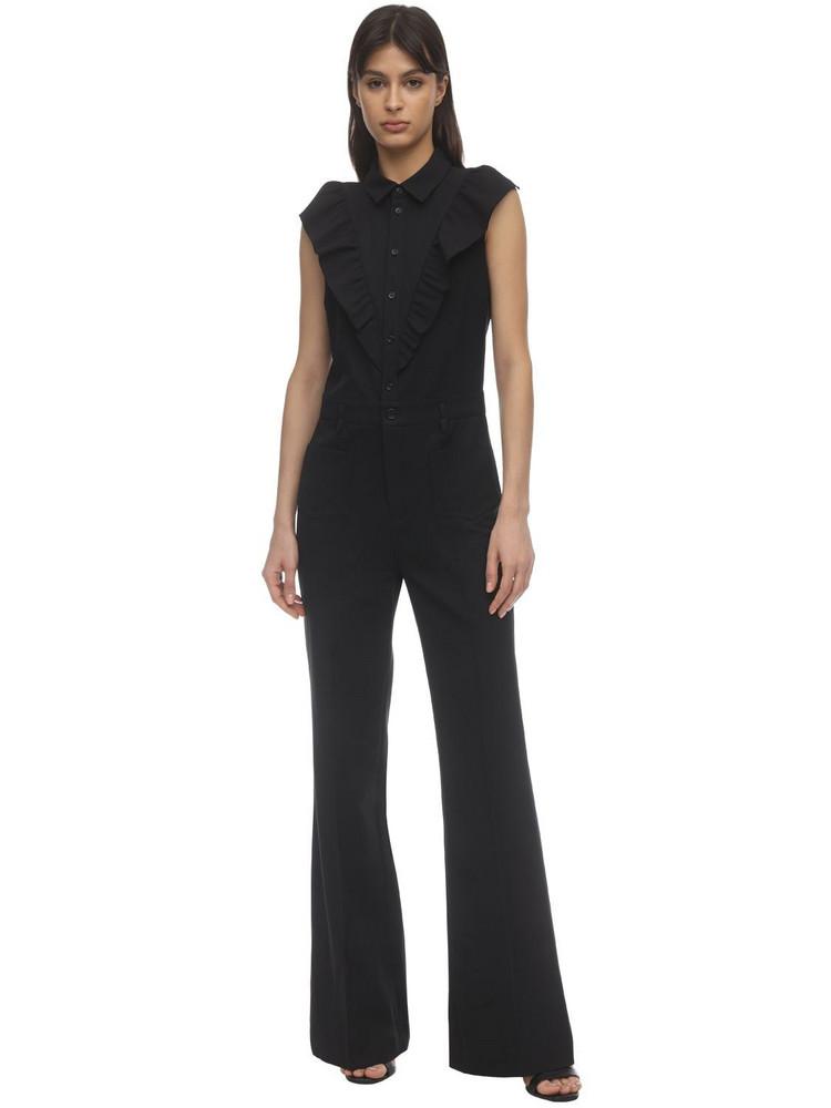RED VALENTINO Full Cotton & Wool Gabardine Jumpsuit in black