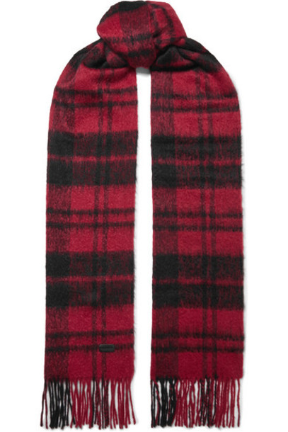 SAINT LAURENT - Fringed Checked Wool-blend Scarf - Red