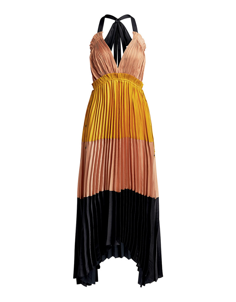 Ulla Johnson Gisella Color-block Pleated Satin Midi Dress Yellow Multi