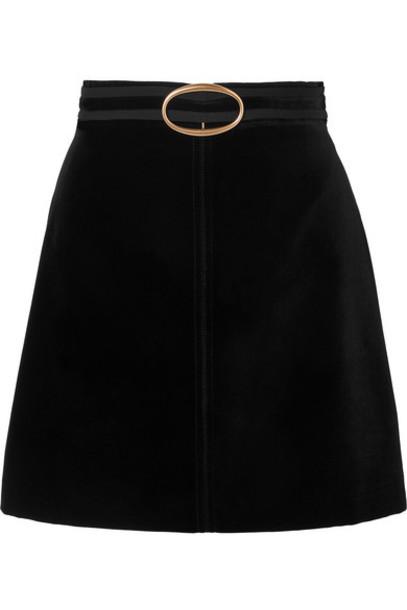 Vanessa Bruno - Jiany Embellished Grosgrain-trimmed Cotton-blend Velvet Mini Skirt - Black