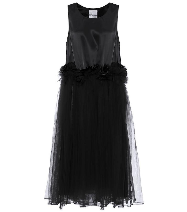 Noir Kei Ninomiya Tulle-trimmed midi dress in black