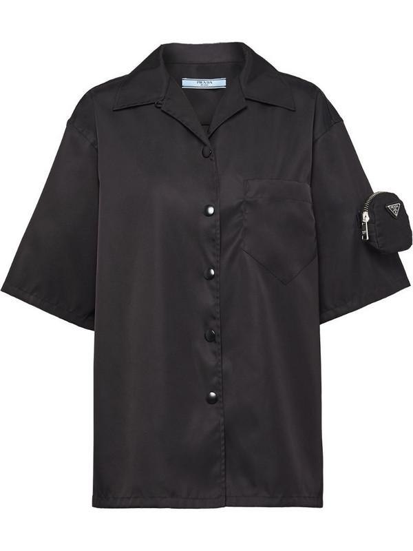 Prada logo-pouch shirt in black