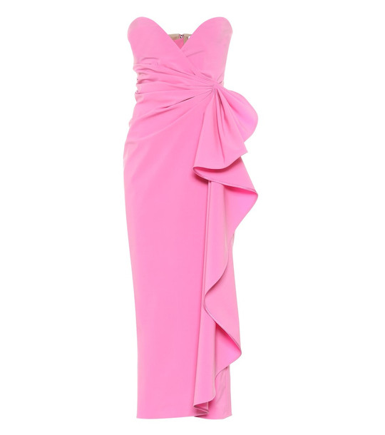 The Attico Strapless stretch-wool strapless gown in pink