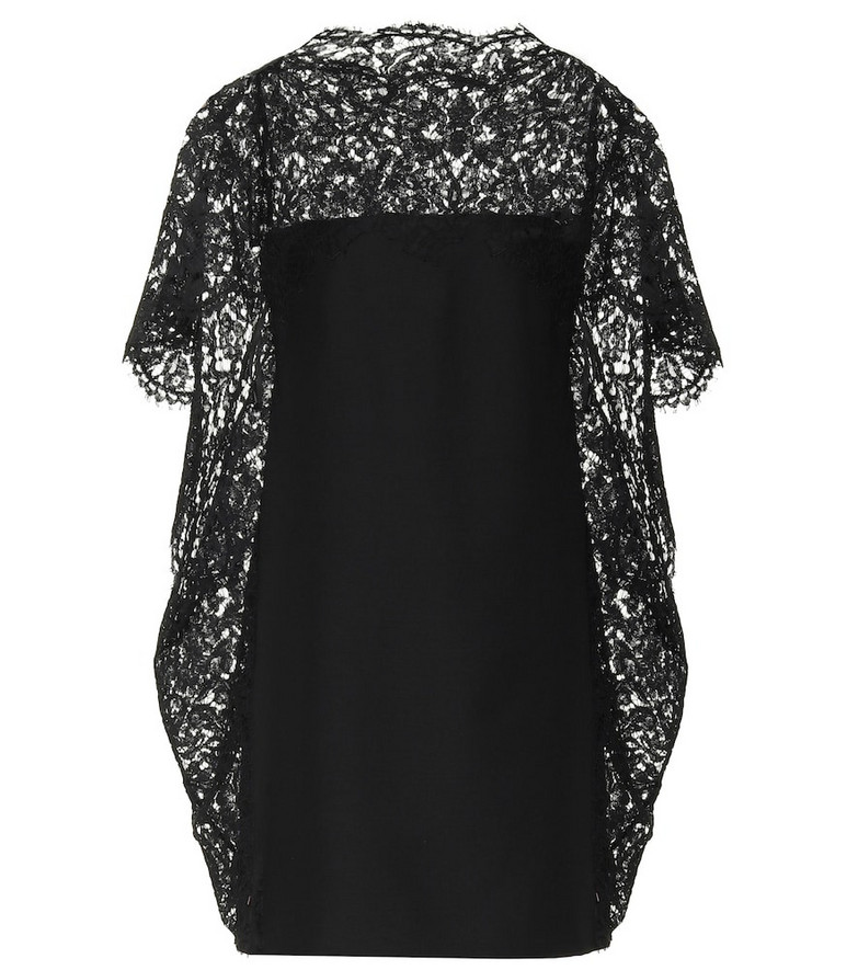 Valentino Lace-trimmed minidress in black