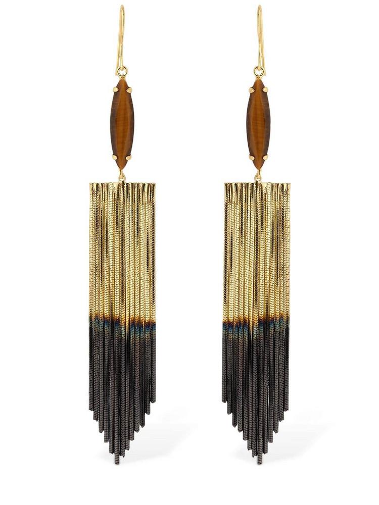 IOSSELLIANI Fringed Marquise Tiger Eye Earrings in black / gold