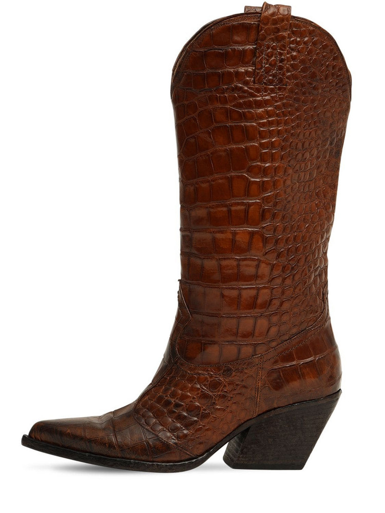 ELENA IACHI 70mm Croc Embossed Leather Boots in brown