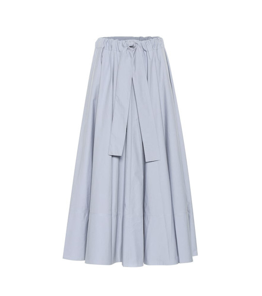 Co Belted cotton midi skirt in blue