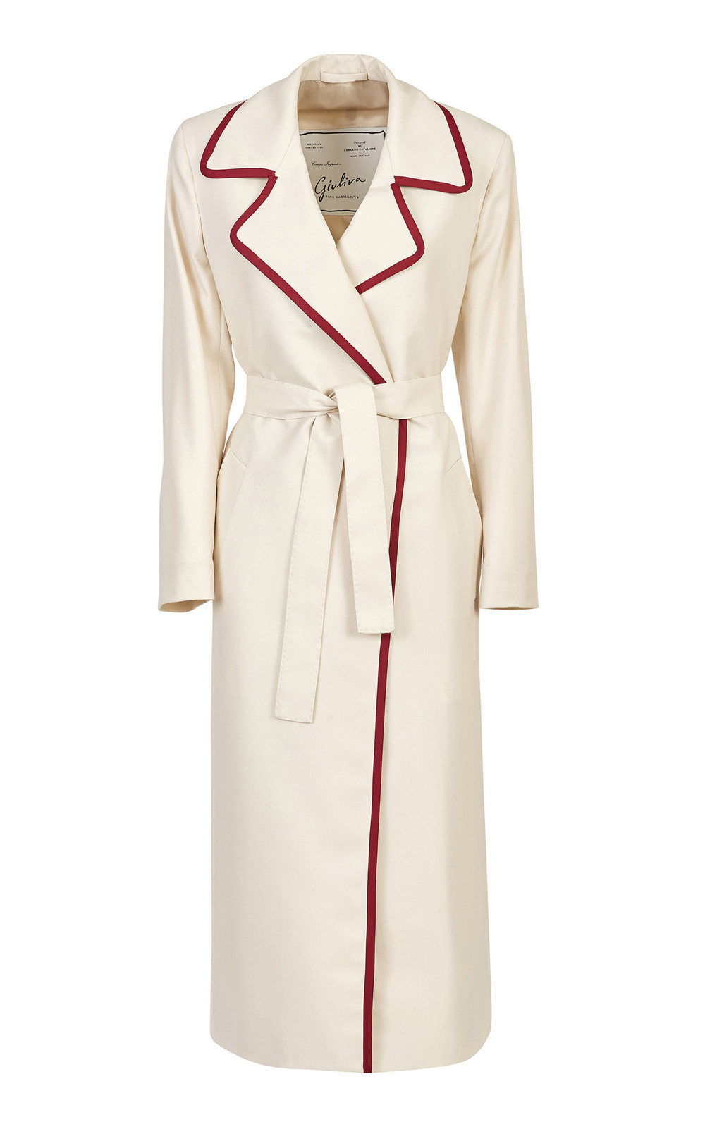 Giuliva Heritage Collection Belted Piped Wool-Twill Coat in neutral