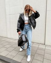 jeans,white jeans,straight jeans,white sneakers,black leather jacket,turtleneck,cropped