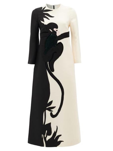 Valentino - Sequinned Monkey-appliqué Wool-blend Dress - Womens - Black Multi