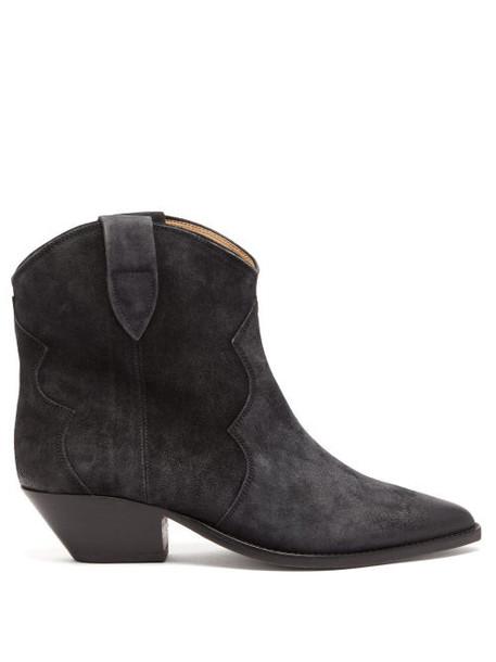 Isabel Marant - Dewina Western Suede Boots - Womens - Black
