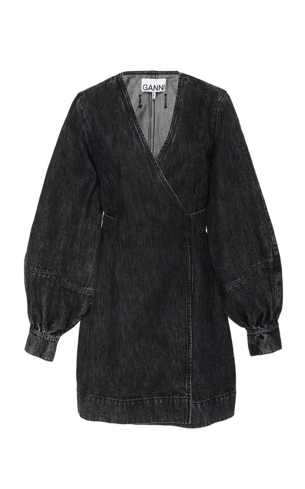 Ganni Wrap-Effect Denim Mini Dress Size: 34 in grey