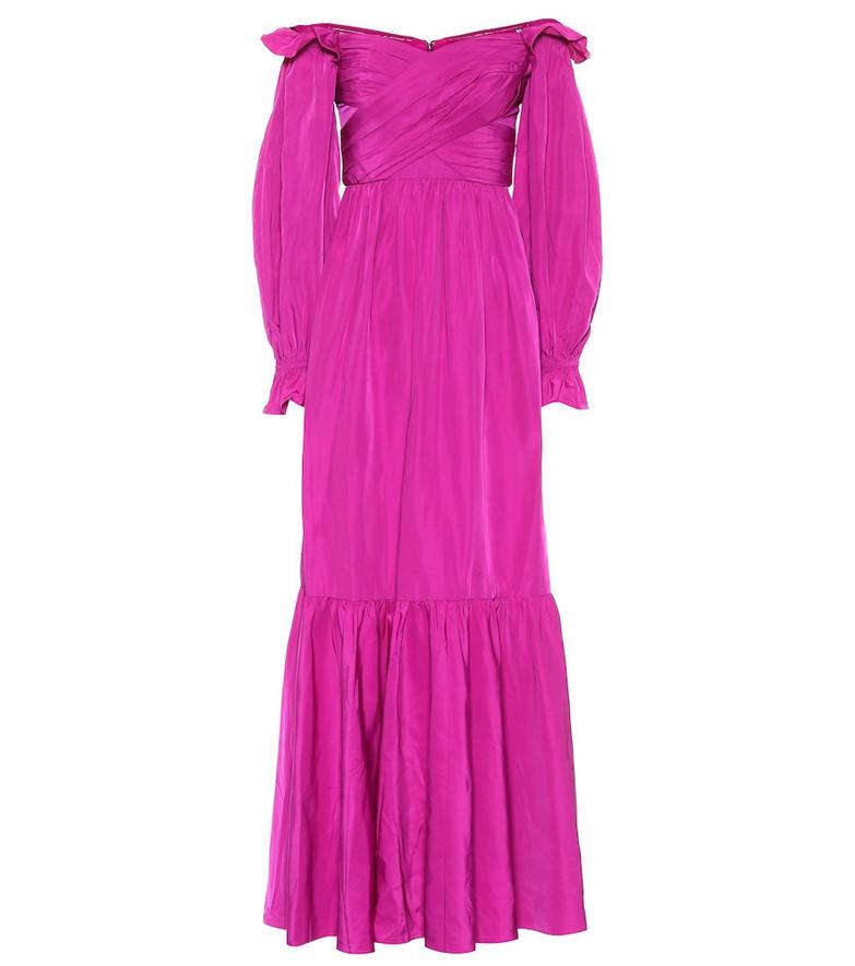 Self-Portrait Off-shoulder taffeta gown in purple