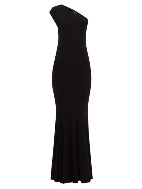 Norma Kamali - One Shoulder Stretch Jersey Maxi Dress - Womens - Black