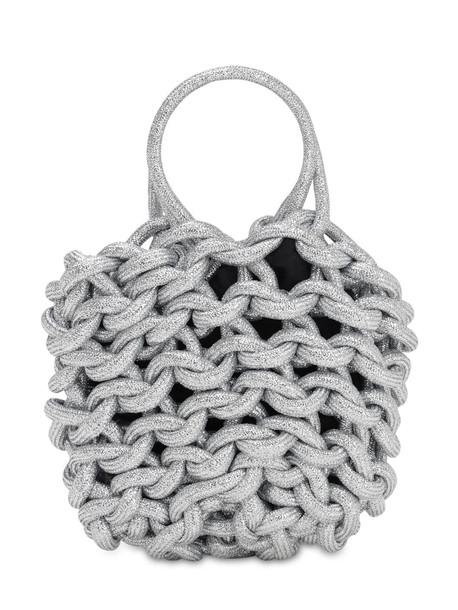 ALIENINA Julia Rope Bucket Cotton Top Handle Bag in silver