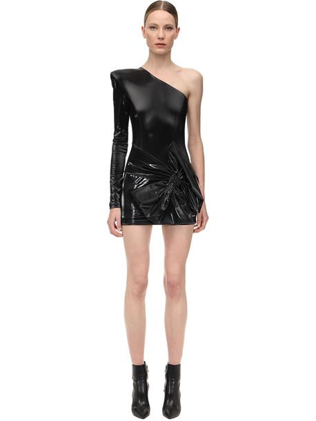 FAITH CONNEXION Latex Mini Dress W/bow in black