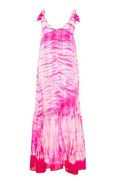 Juliet Dunn Tie Dye V-Neck Silk Maxi Dress in pink