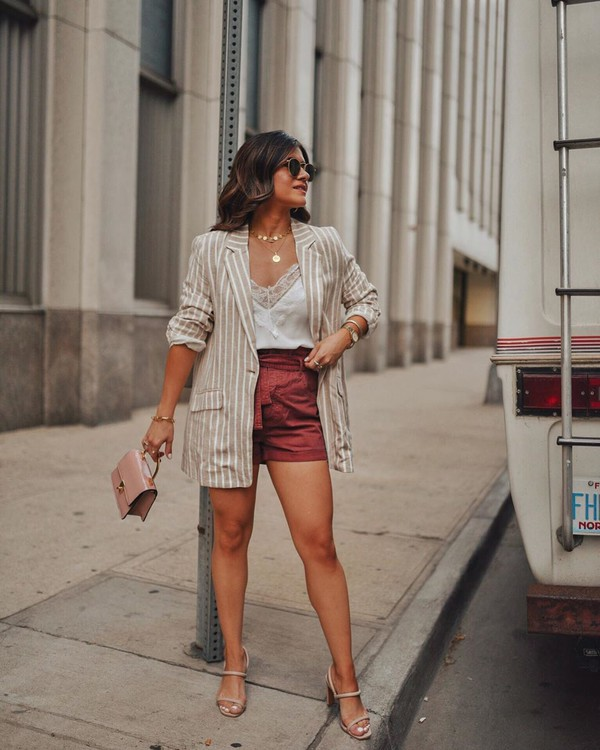 jacket blazer stripes High waisted shorts sandals handbag white top