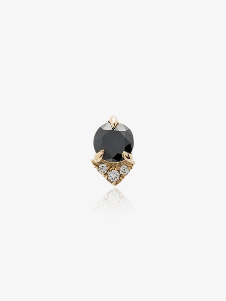 Lizzie Mandler Fine Jewelry Spike stud black diamond and diamond 18K yellow gold single earring