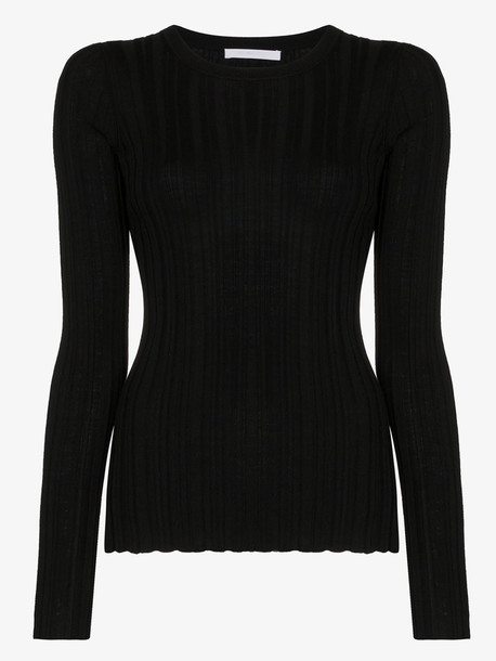 Helmut Lang fine rib merino knit sweater in black