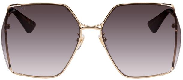 Gucci Gold & Black Pentagonal Sunglasses