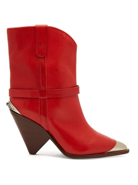 leather boots leather red shoes