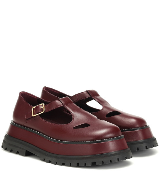 Burberry Aldwych leather Mary Jane loafers in red