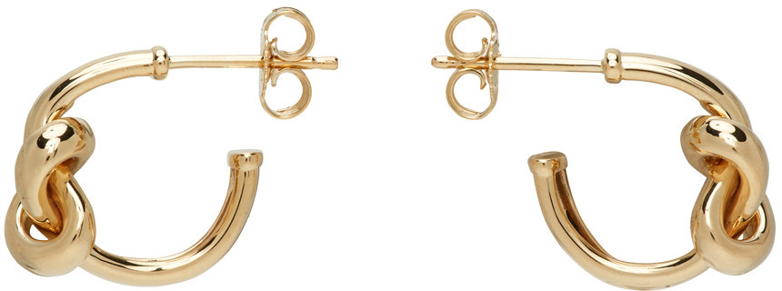 Adina Reyter Chunky Tube Knot Earrings in gold