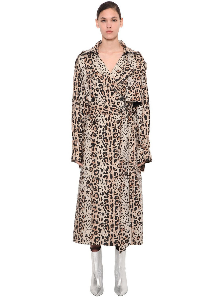 ANNAKIKI Leo Print Trench Coat in leopard
