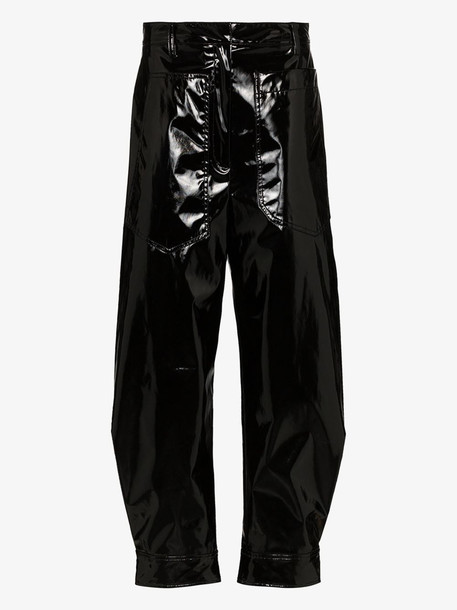 Tibi Patent press popper tapered trousers in black