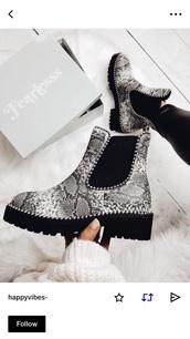 shoes,studs,booties,snake print,snake,black,cute