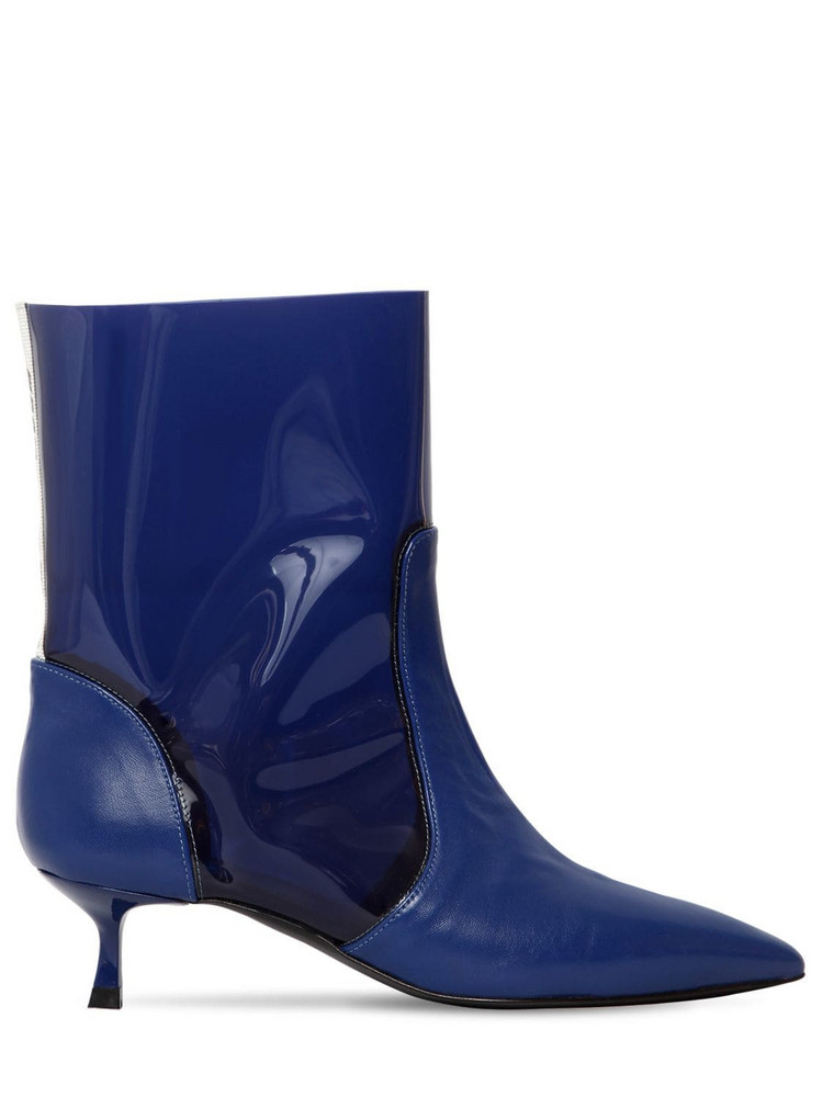 MSGM 20mm Leather & Pvc Ankle Boots in blue