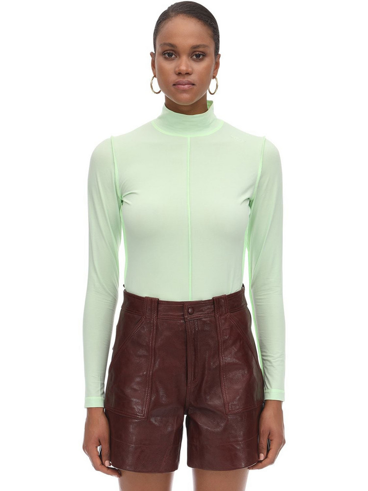 GANNI Stretch Jersey Turtleneck Top in mint
