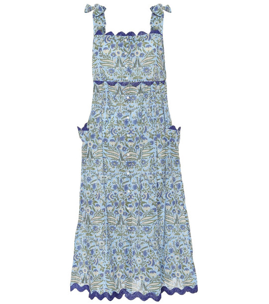 Juliet Dunn Floral cotton midi dress in blue