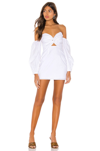 superdown Flynn Ruched Sleeve Dress in white