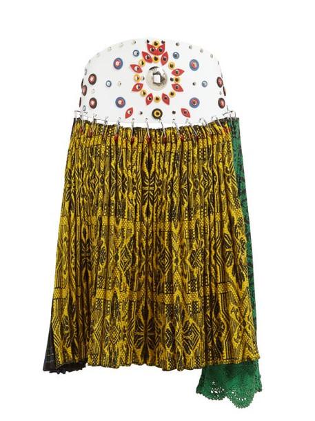 a060c78766e0 Chopova Lowena - Pleated Tapestry Wool Blend Midi Skirt - Womens - Multi