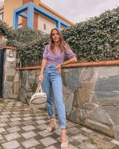 top,blouse,mom jeans,high waisted jeans,white sandals,bag