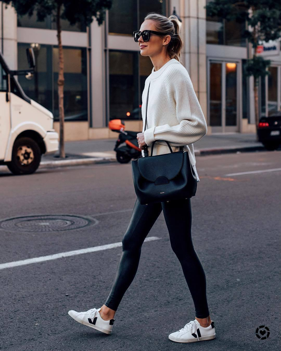 pants black leggings white sneakers black bag crossbody bag white sweater knitted sweater black sunglasses streetstyle